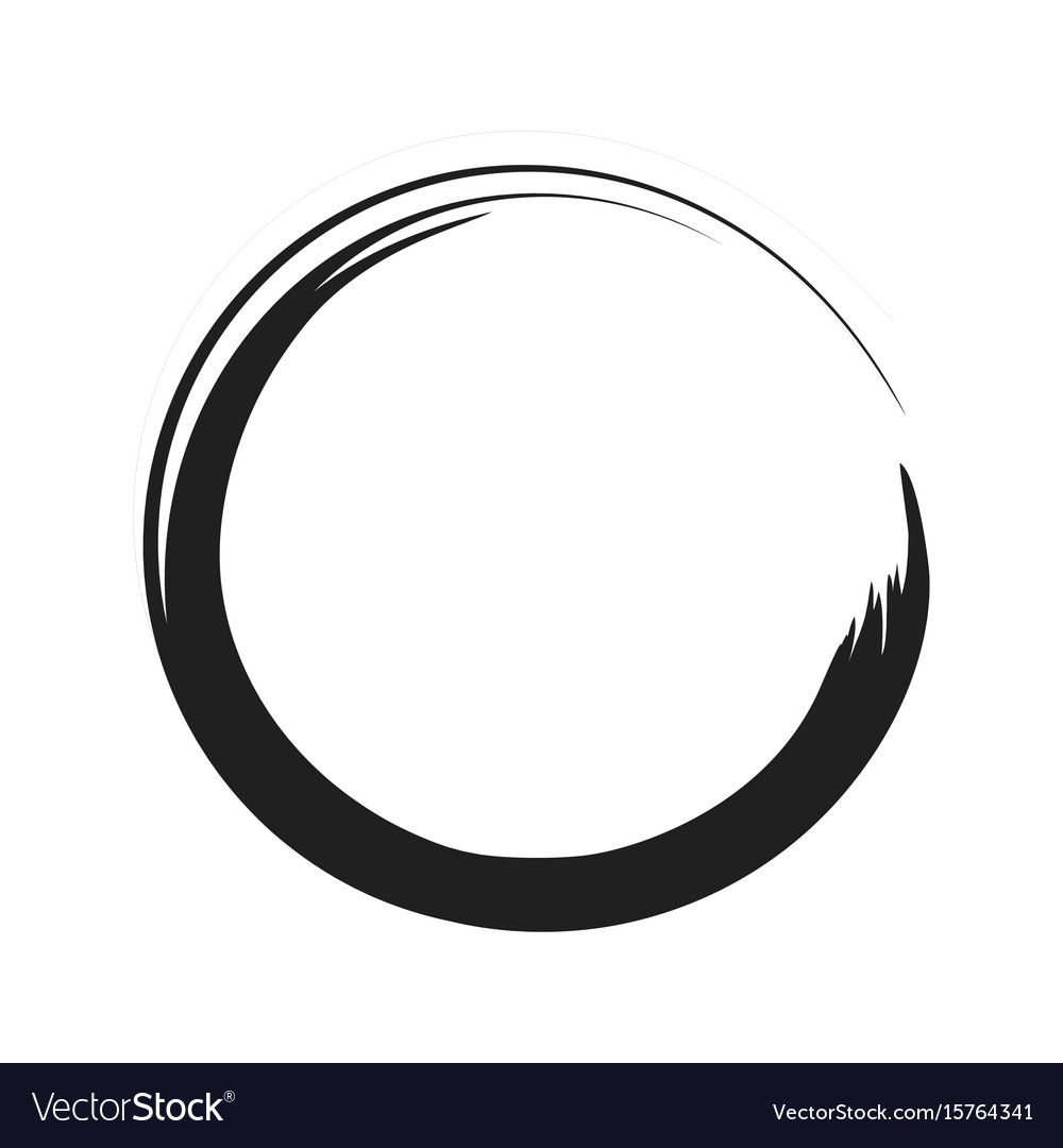 Black paint brush circle stroke abstract vector image