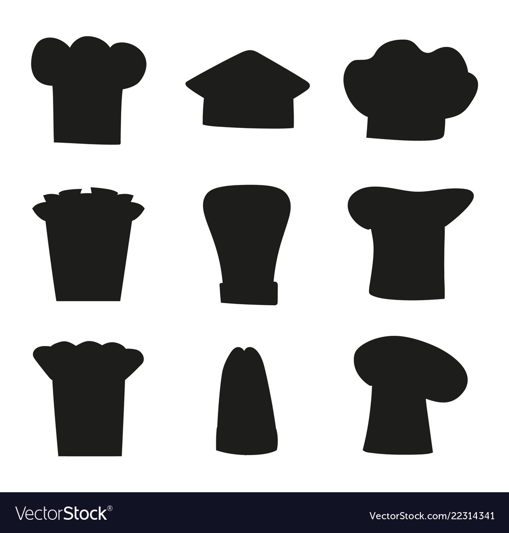 Chef hats outline sketches set of black chef hat