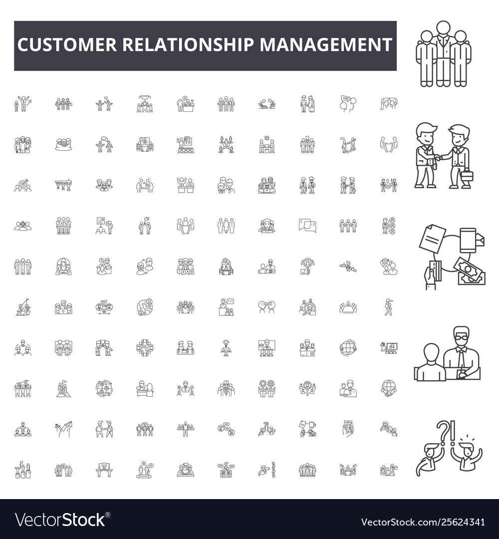 Customer relationship management line icons signs