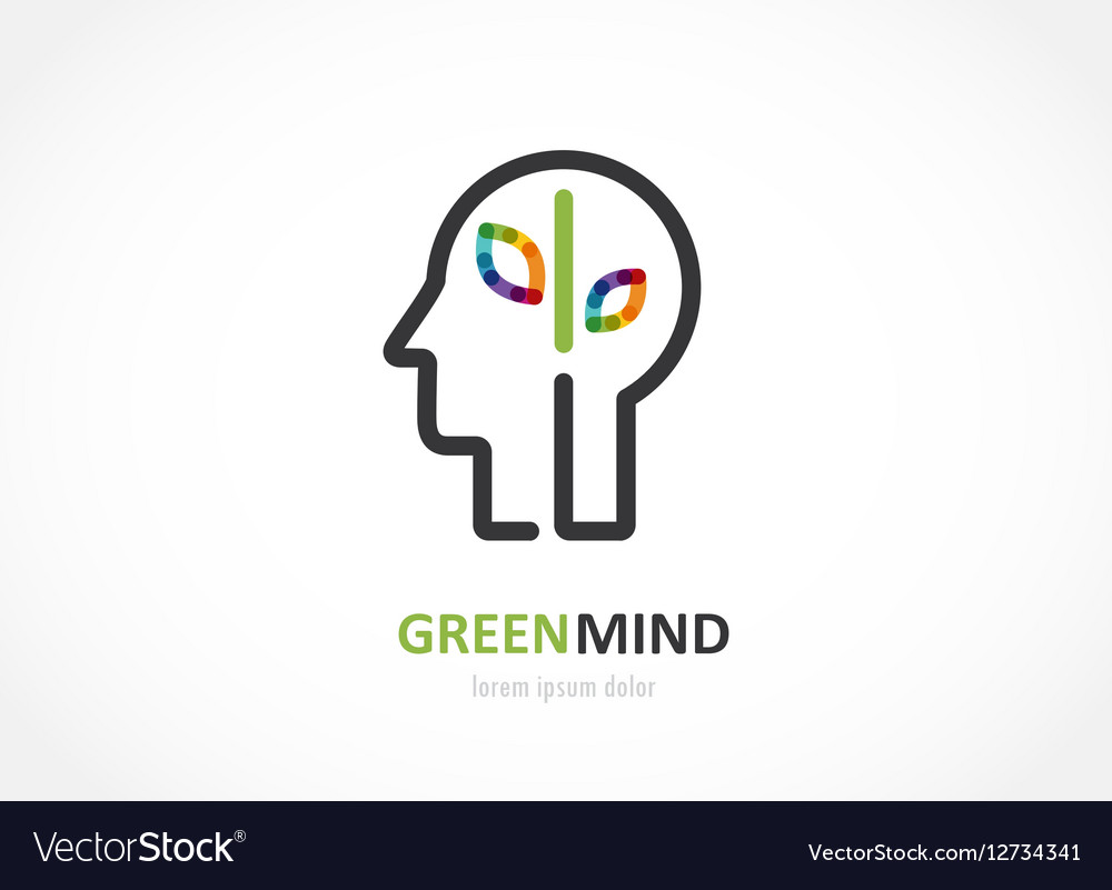 Green mind- abstract colorful icon of human head