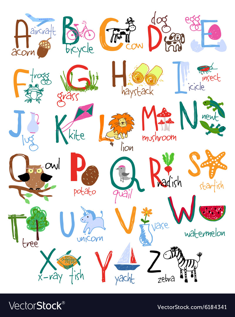 Hand drawn kids alphabet vector image