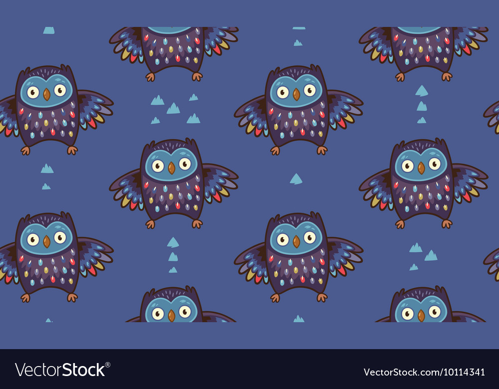 Indian seamless pattern of owl in