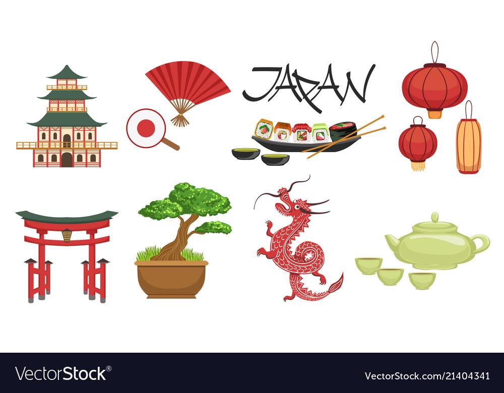 Japanese culture symbols set Royalty Free Vector Image