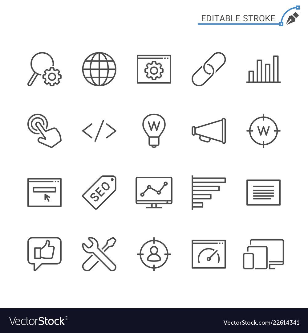 Search engine optimization line icons editable