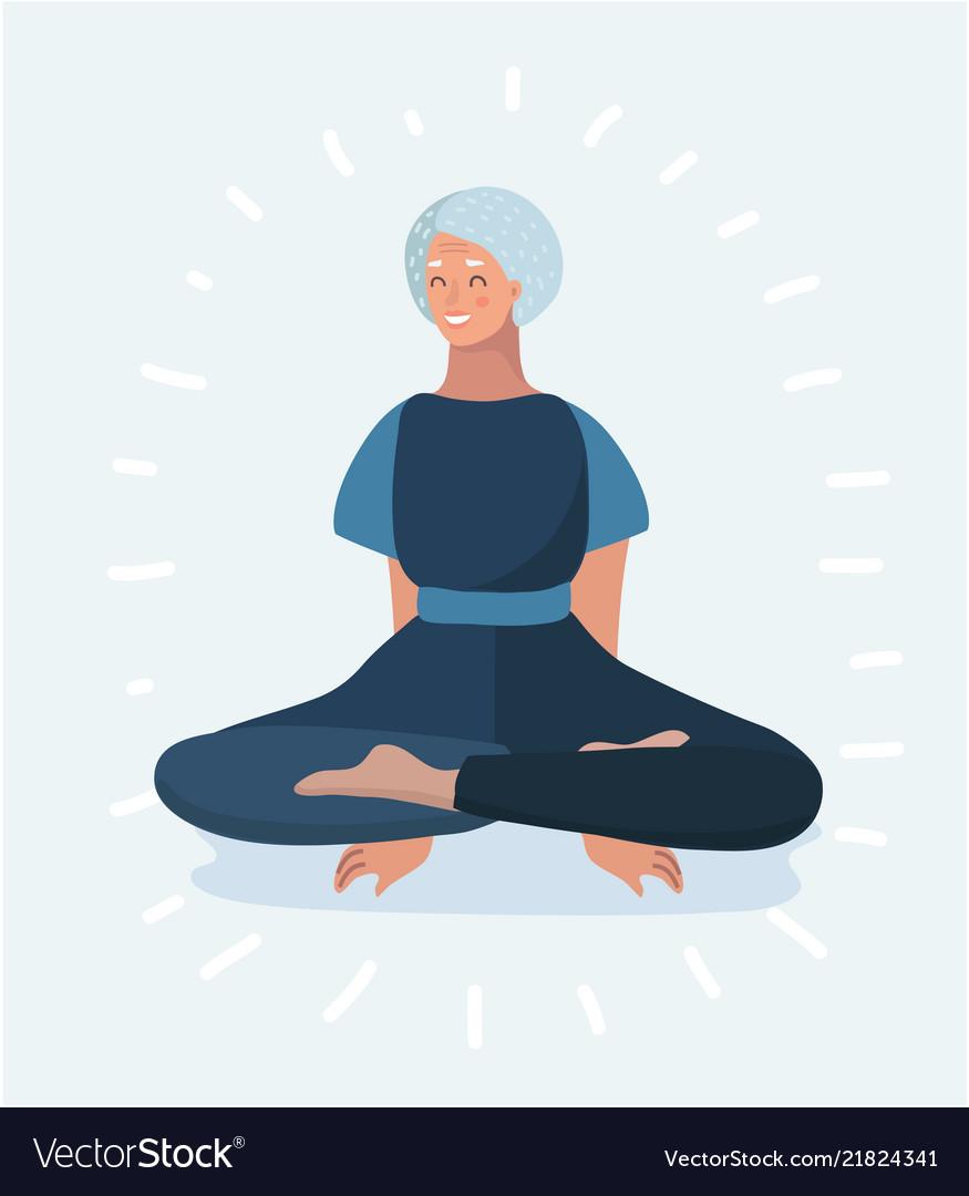 Senior woman meditating and exercising