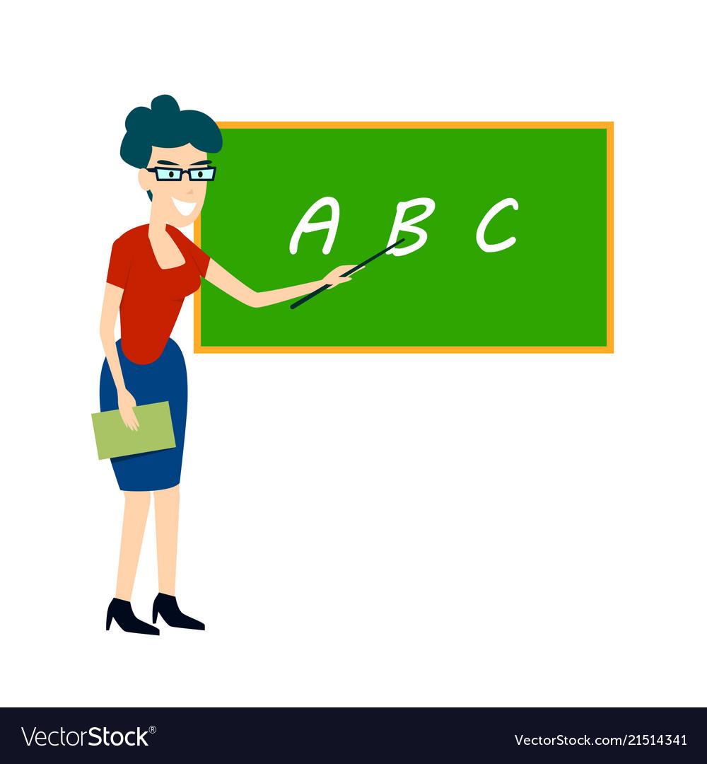 Teacher near the board points flat