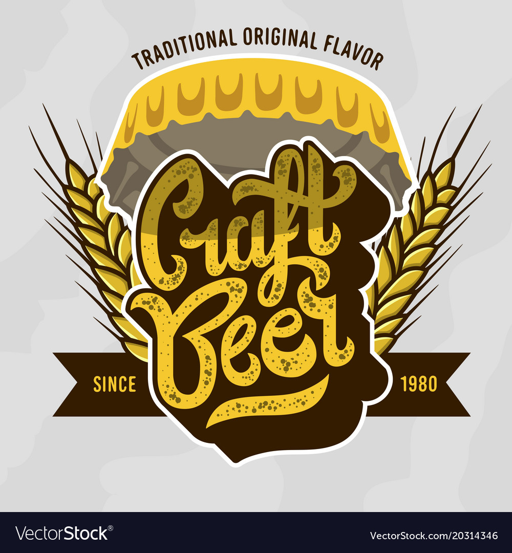 Craft beer script lettering badge emblem design vector image