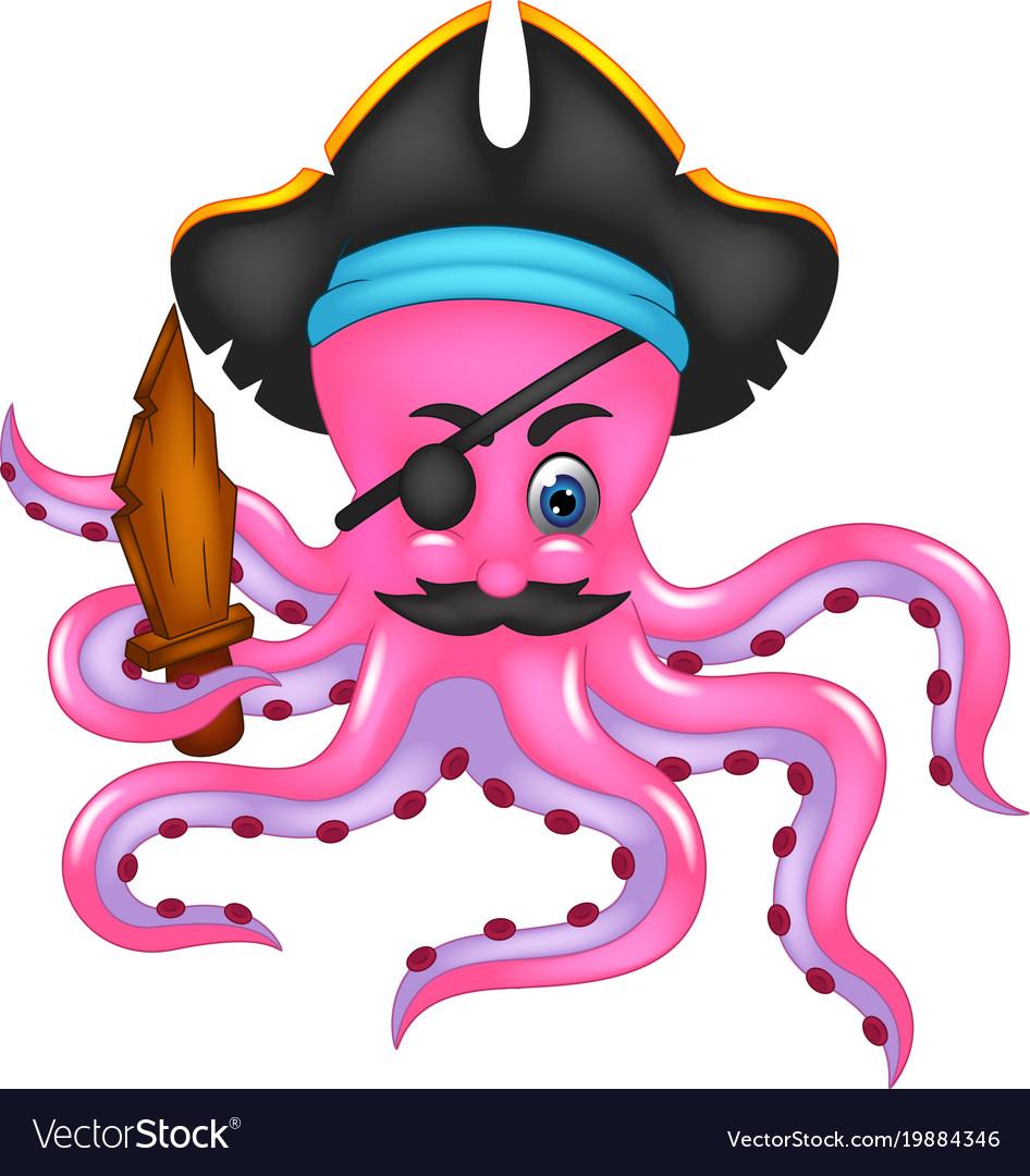 Cute pirate octopus cartoon posing bring sword