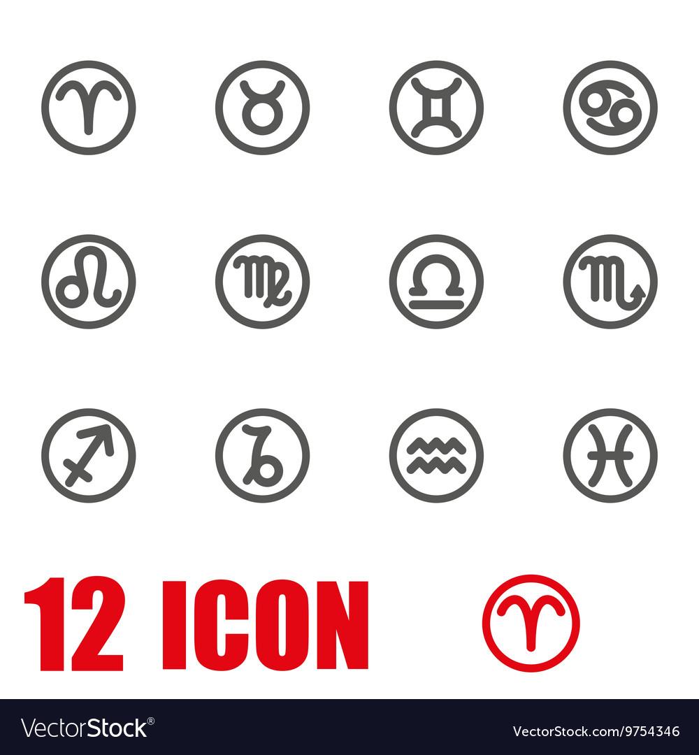 Grey zodiac symbols icon set