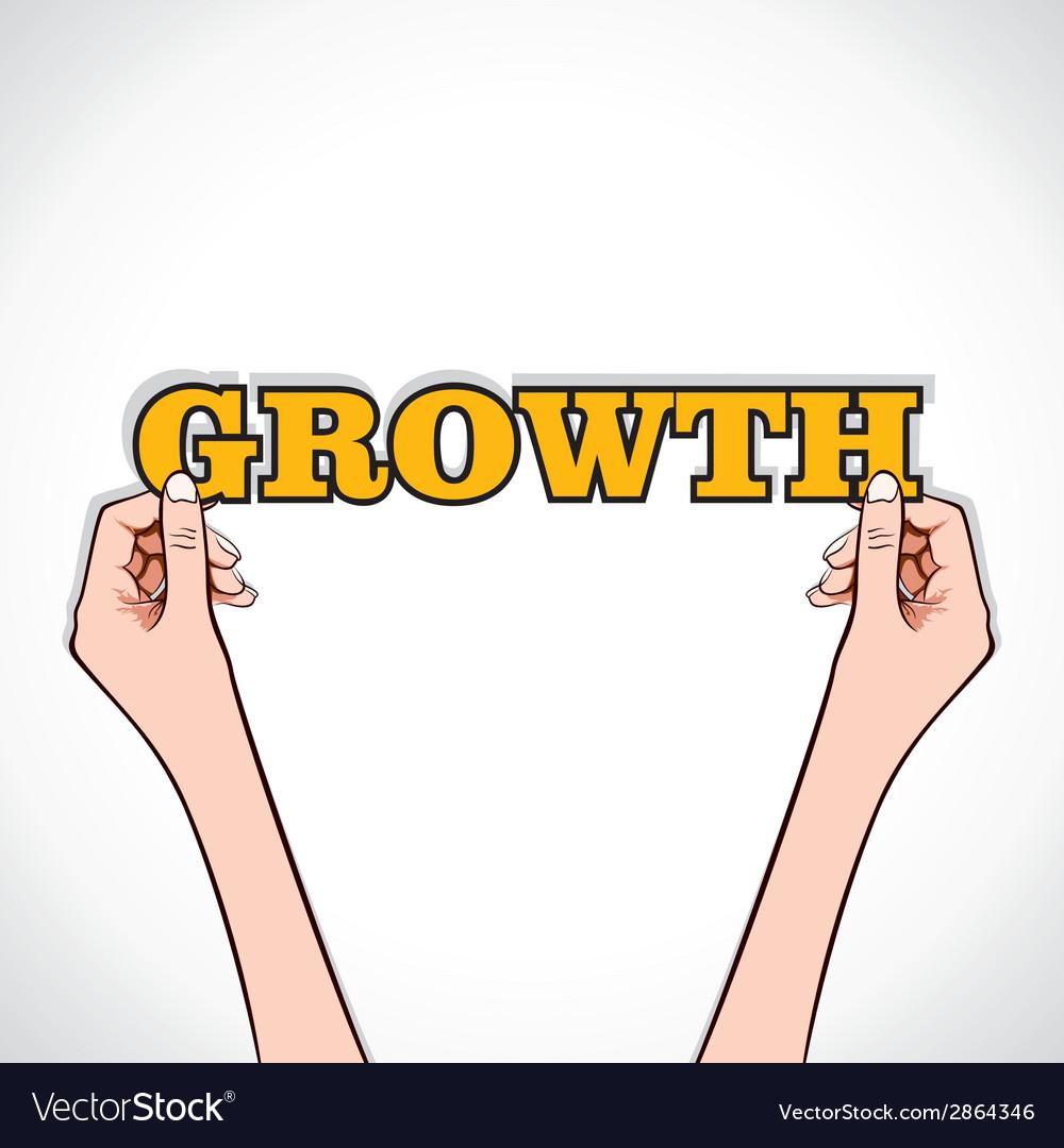 Growth word sticker in hand