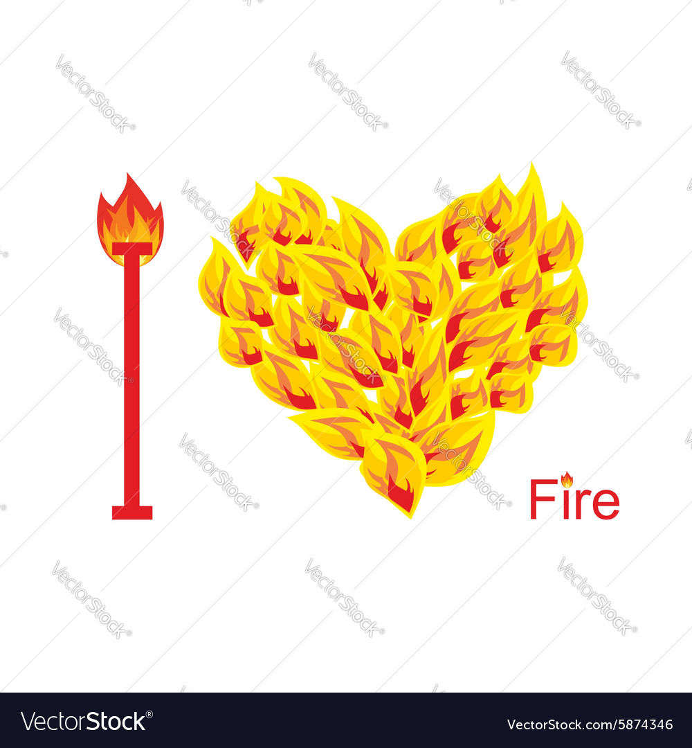 I love fire Symbol of heart of flame Flaming heart vector image