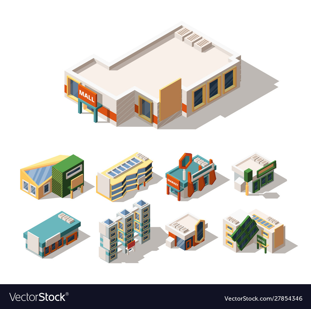 Mall exterior designs isometric 3d
