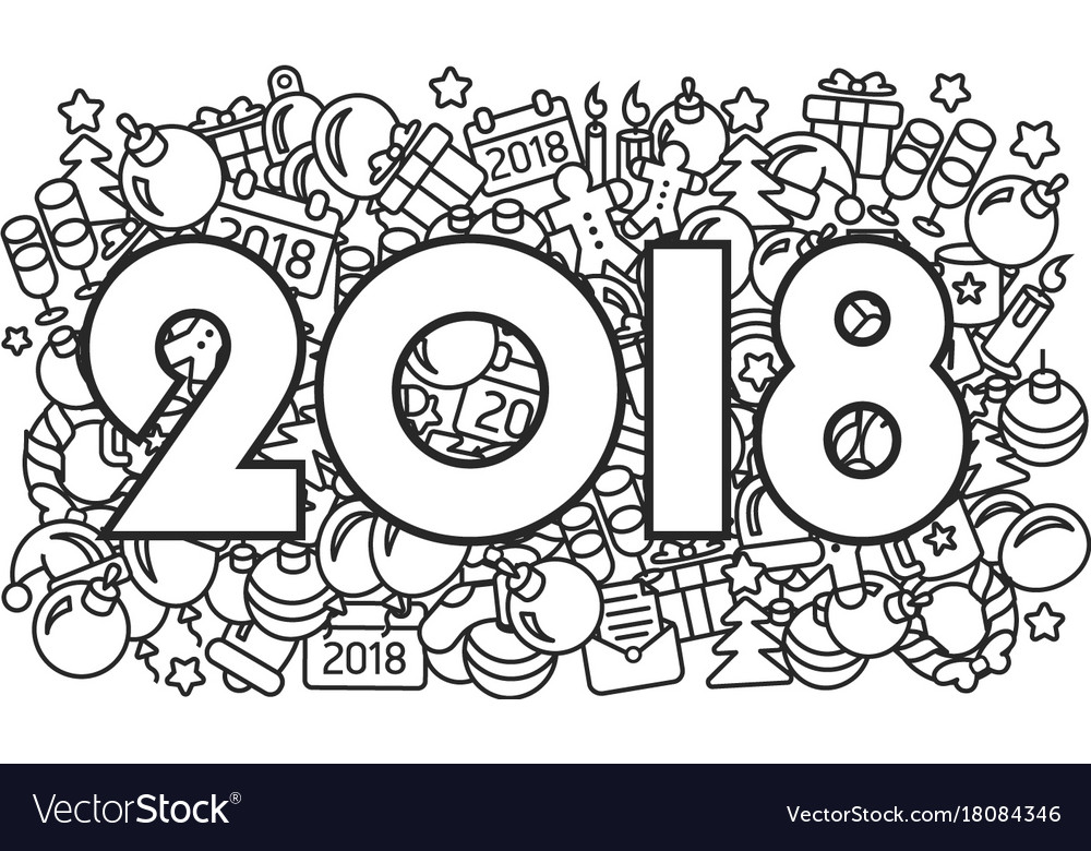 New year 2018 lines abstract icons Royalty Free Vector Image