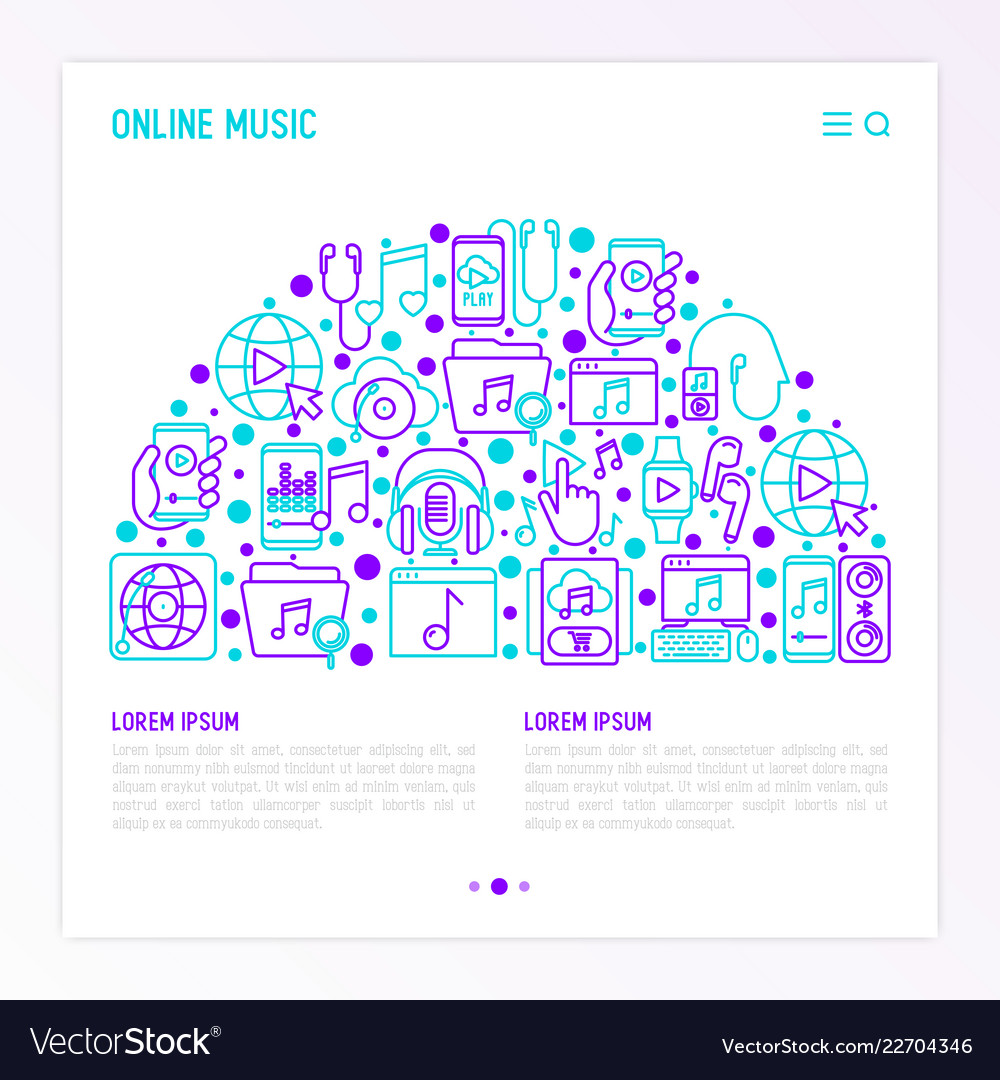 Online music concept in half circle