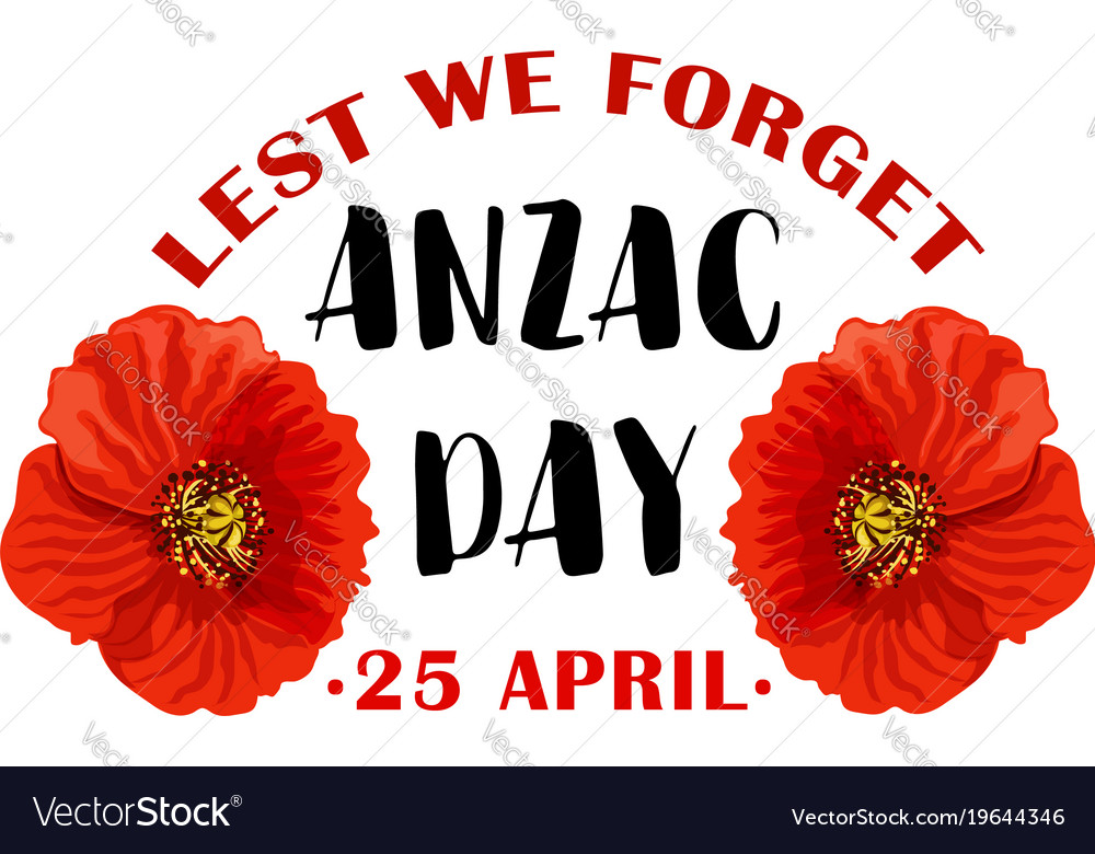 Red Poppy Flower Symbol Of Anzac Remembrance Day Vector Image