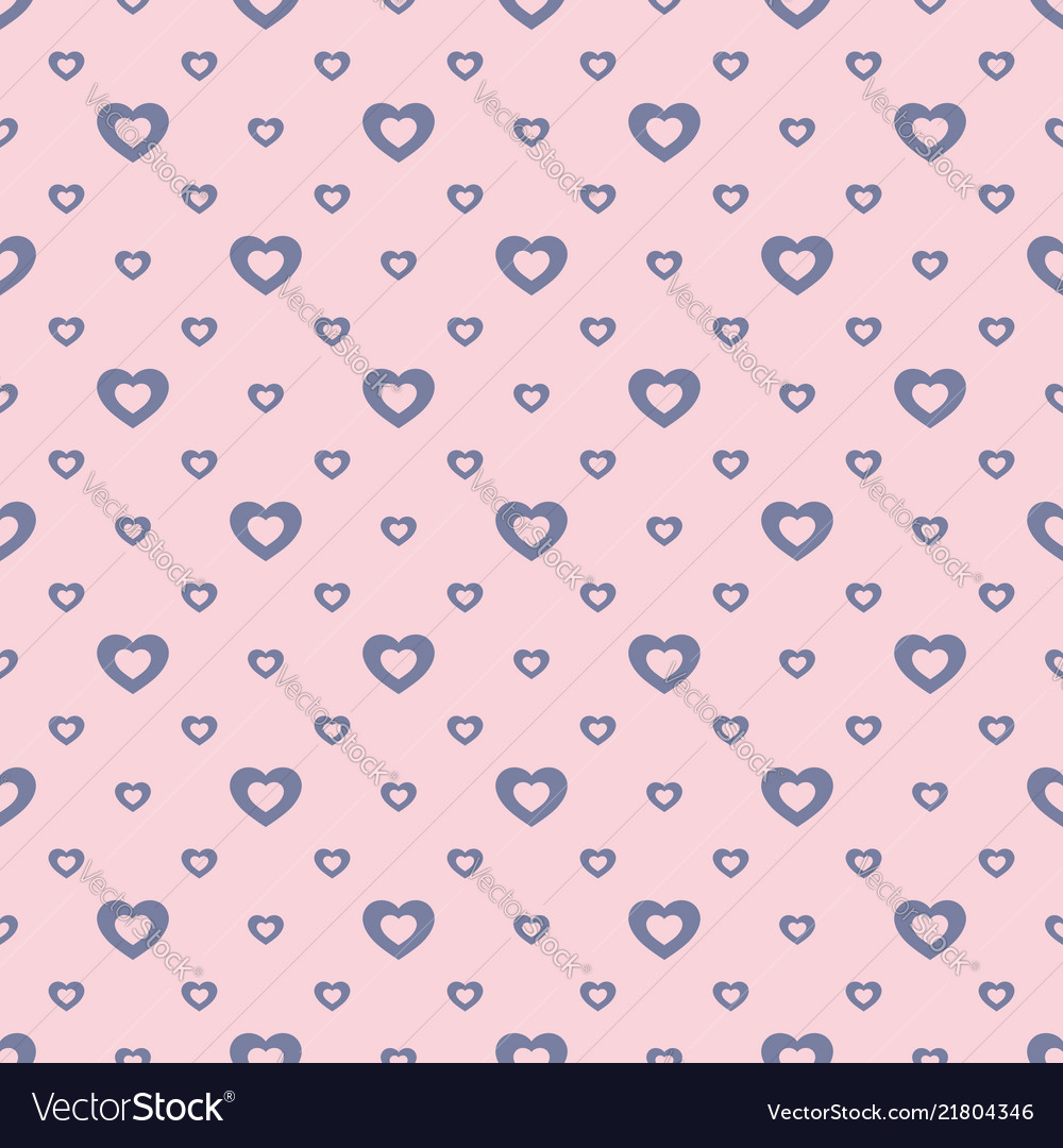 Romantic seamless pattern small outline hearts