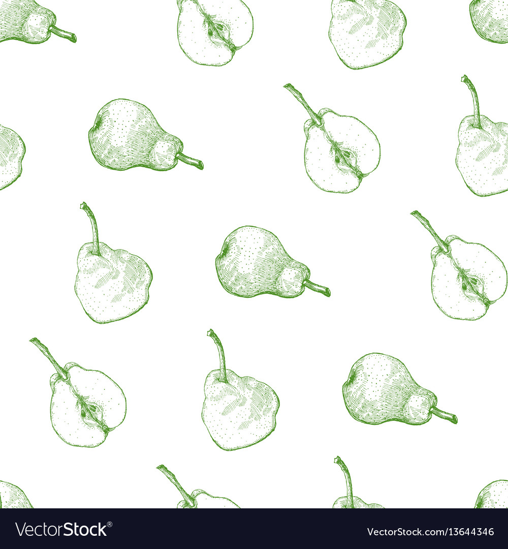 Seamless pattern engraving of a pear