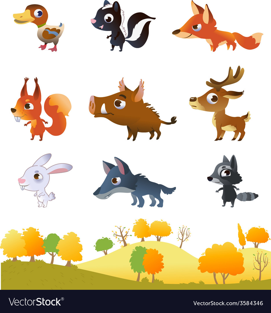 Set of cartoon forest animals