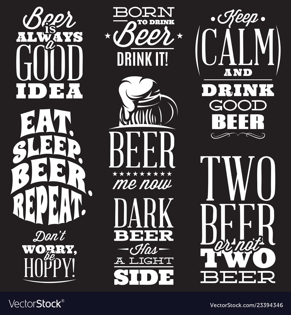 Set of stylized quotes on the topic of beer
