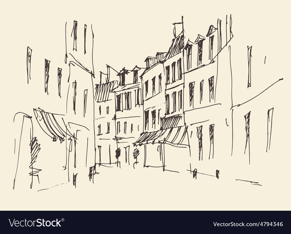 Streets in Paris France Vintage Hand Drawn