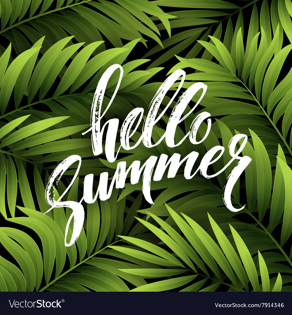 Summer background with palm leaves and hand