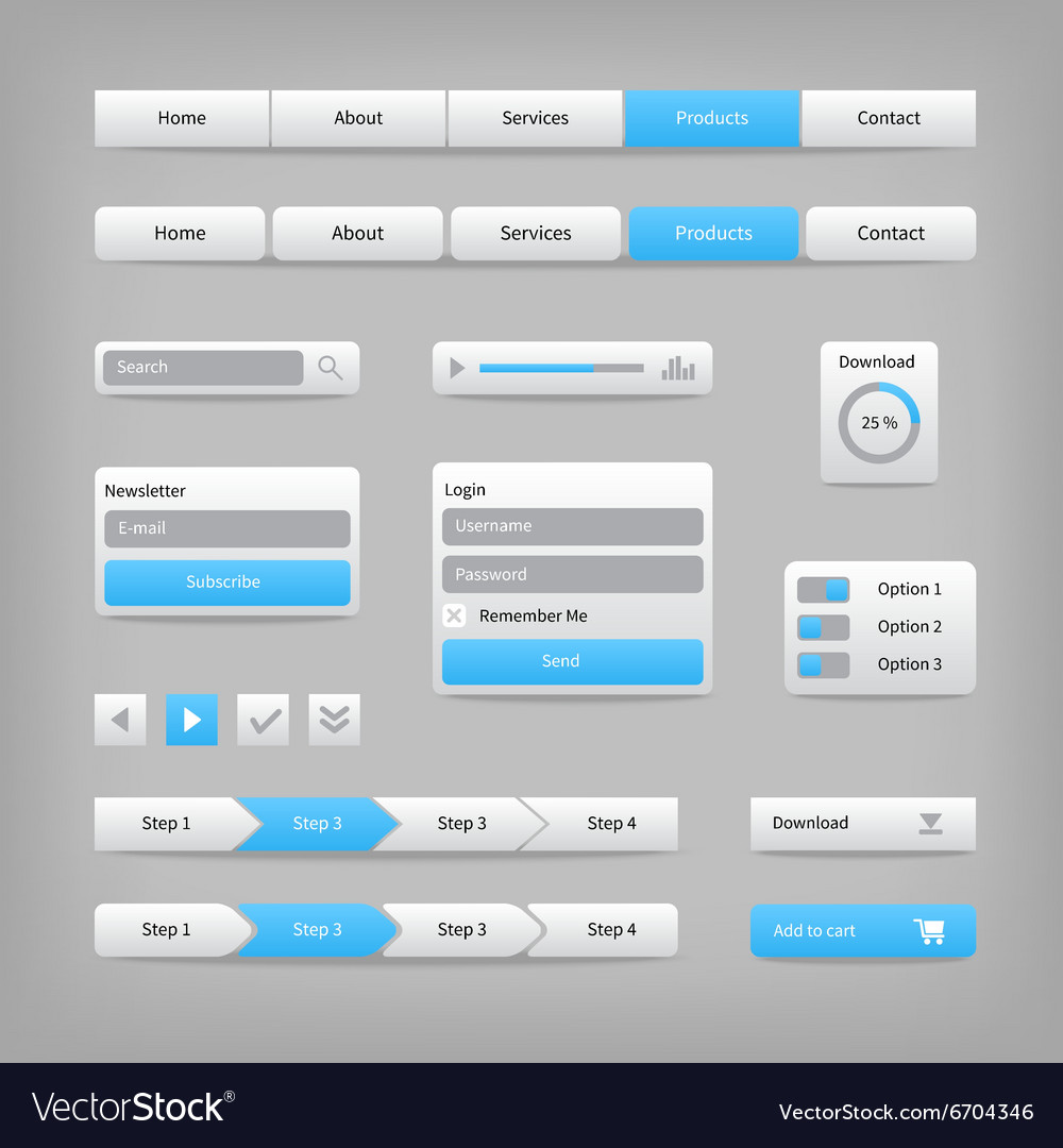 Web site elements with blue buttons navigation on