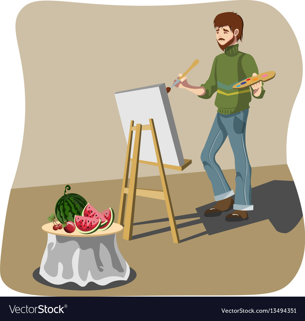 Artist drawing still life