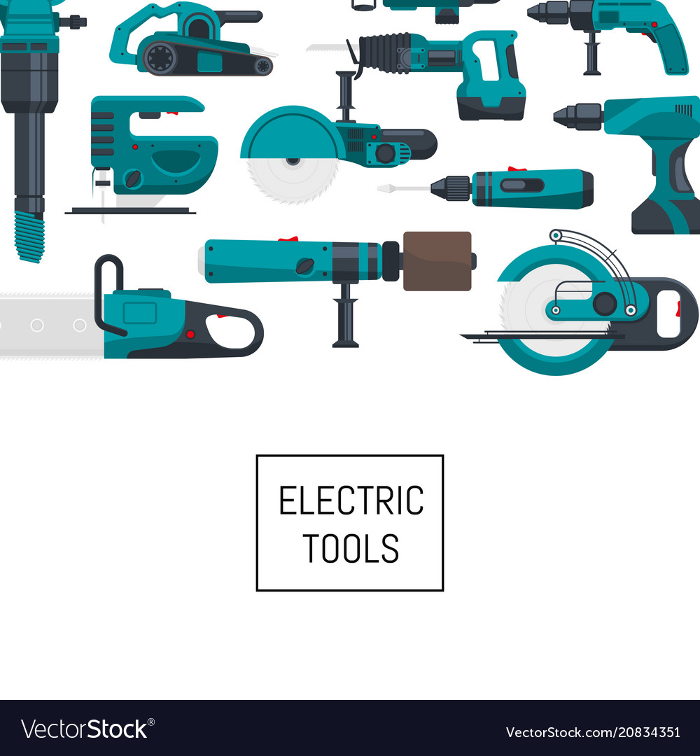 Background with electric construction tools