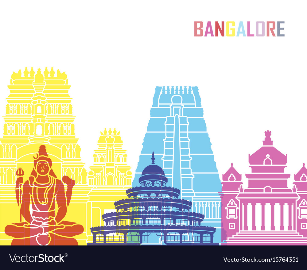 Bangalore skyline pop vector image