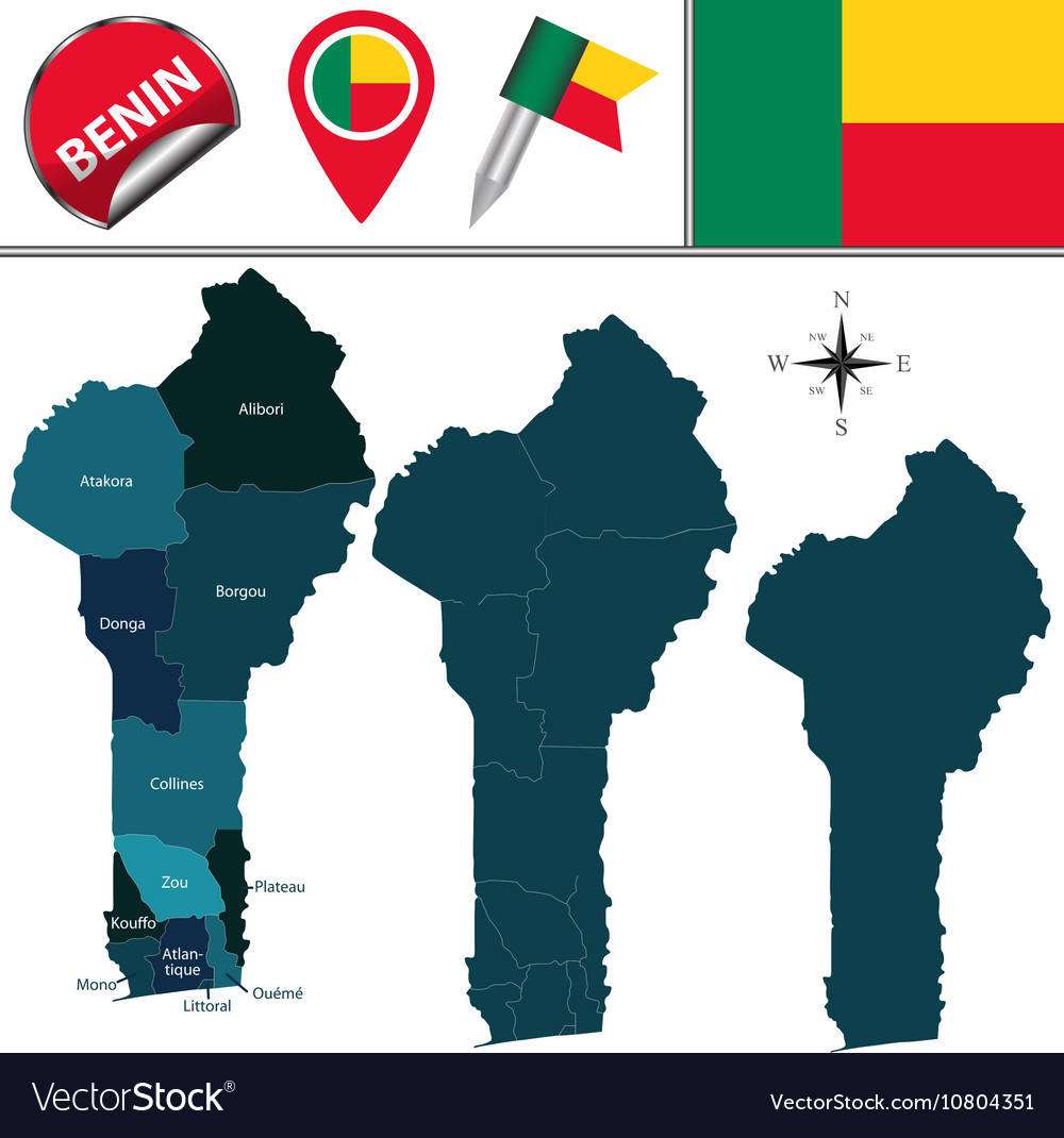 Benin map with named divisions vector image