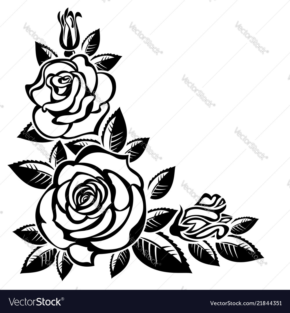 corners rose black and white corner vector images 67 corners rose black and white corner vector images 67