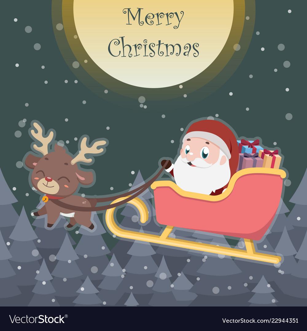 cute reindeer pulling sleigh with santa royalty free vector