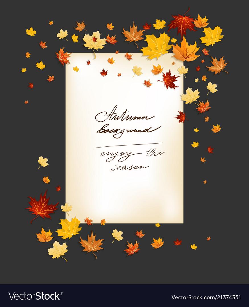 Fall leaves frame on dark background