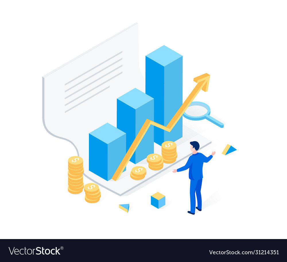Financial statement isometric concept