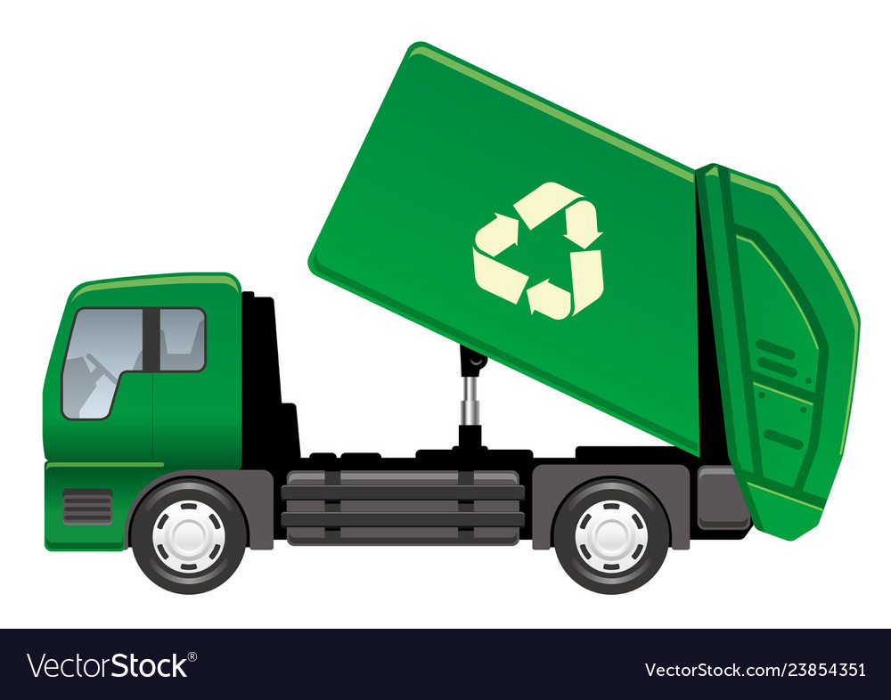 Garbage truck isolated on a white background