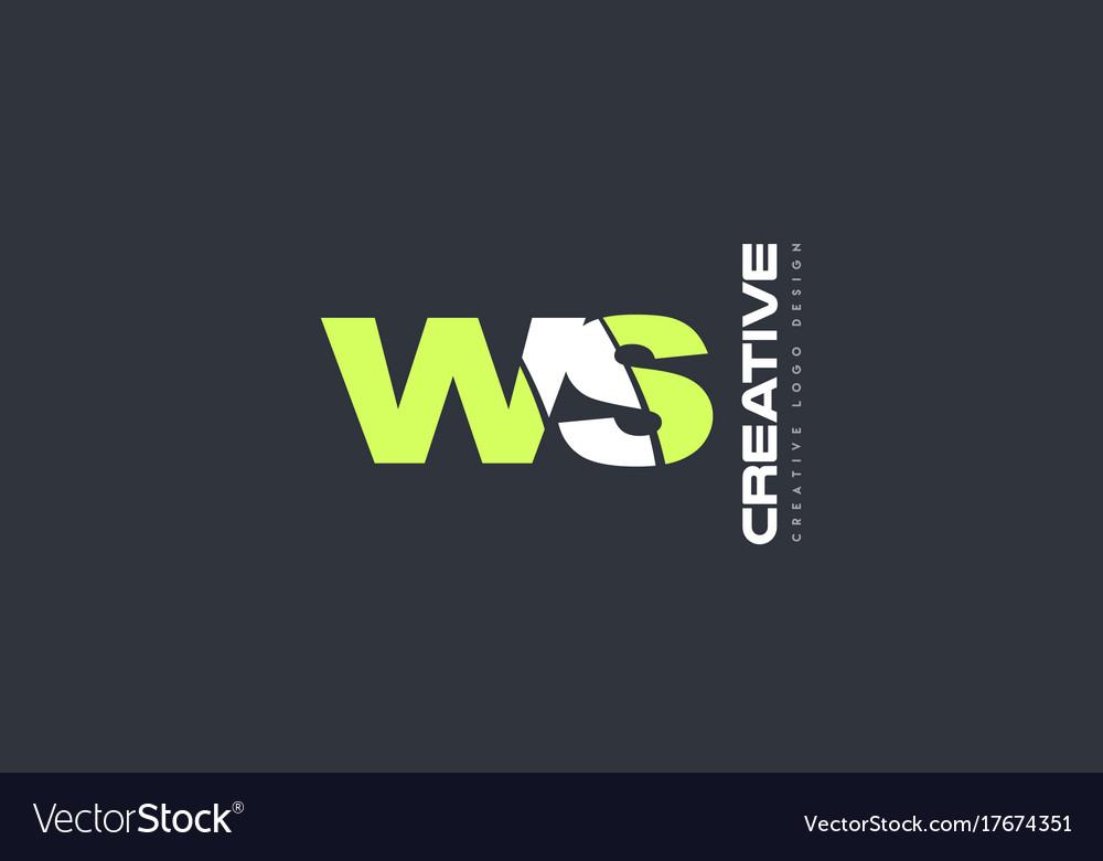 Green letter ws w s combination logo icon company vector image