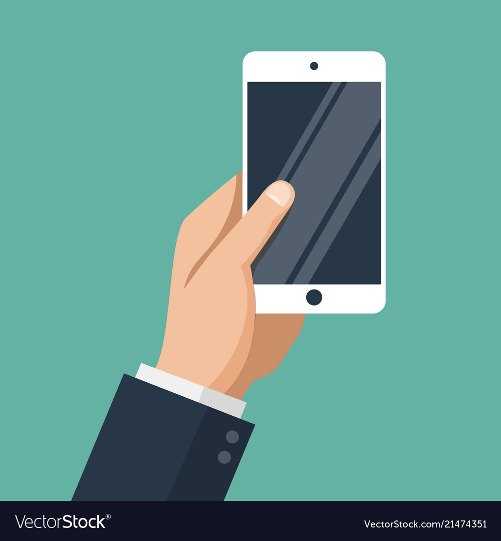 Hand of businessman holding white smartphone
