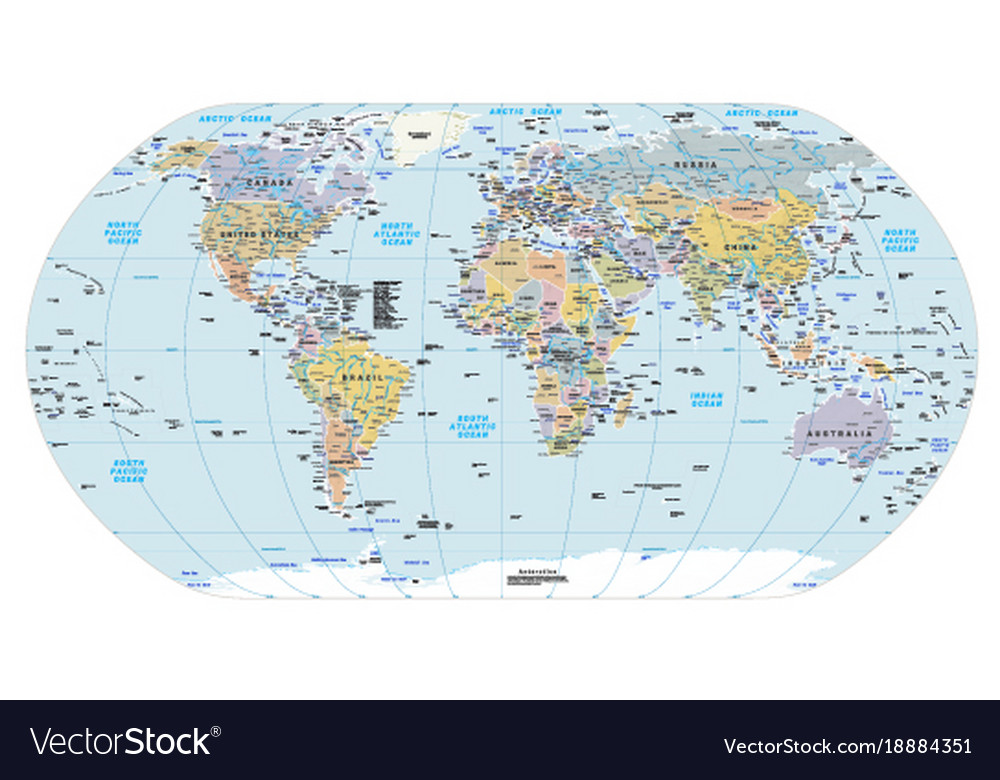 Highly detailed political world map eps 10 vector image gumiabroncs Gallery