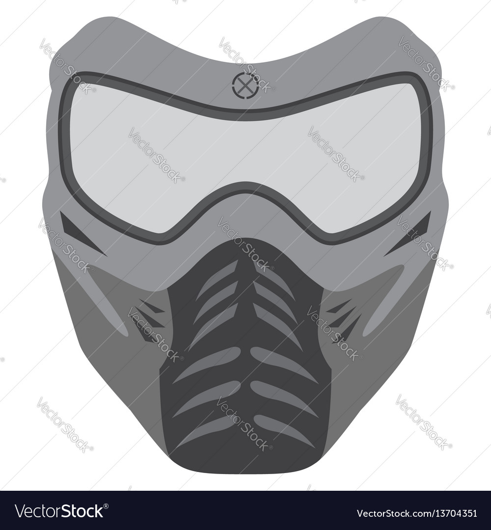 Paintball mask made in flat style