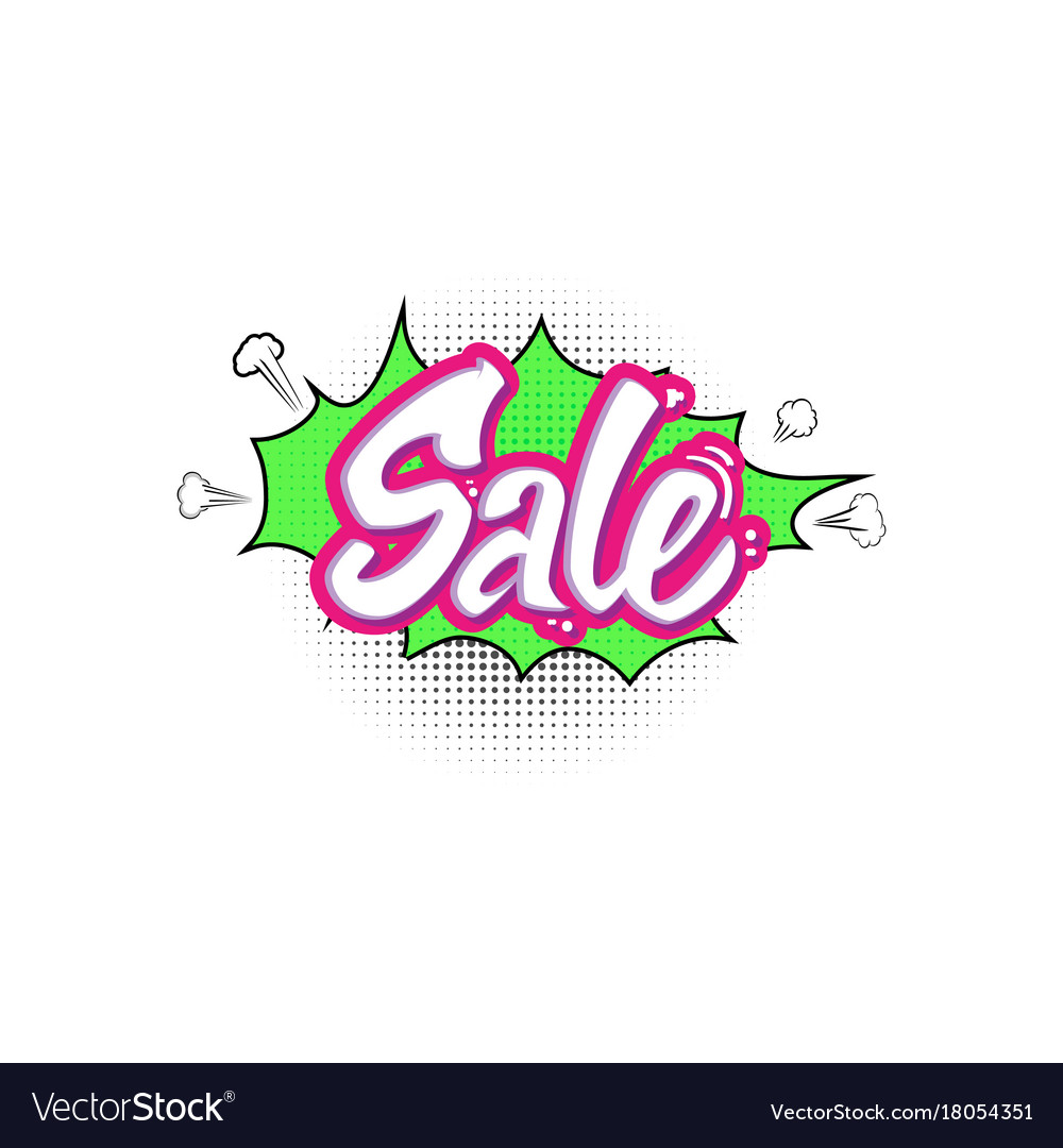 Sale pop art splash cloud comic text speech