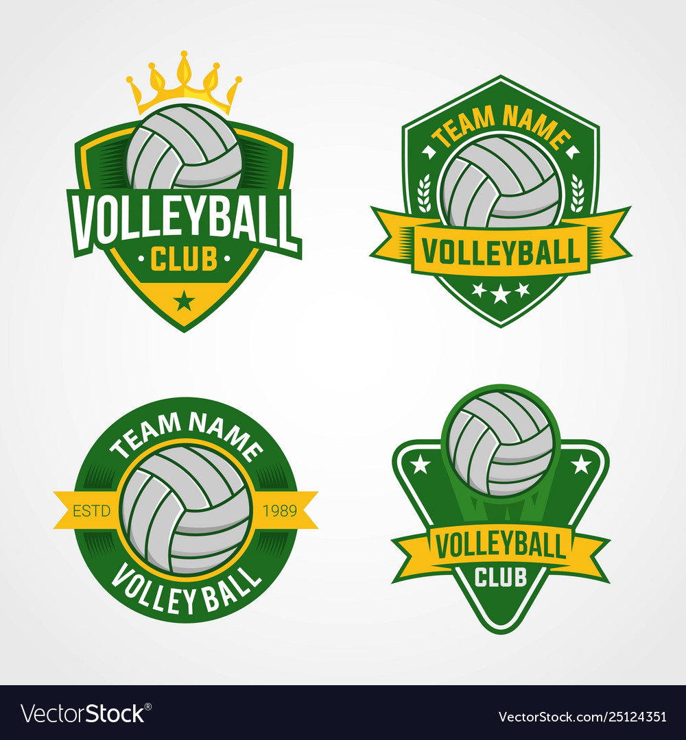 Set Volleyball Logo Template Royalty Free Vector Image