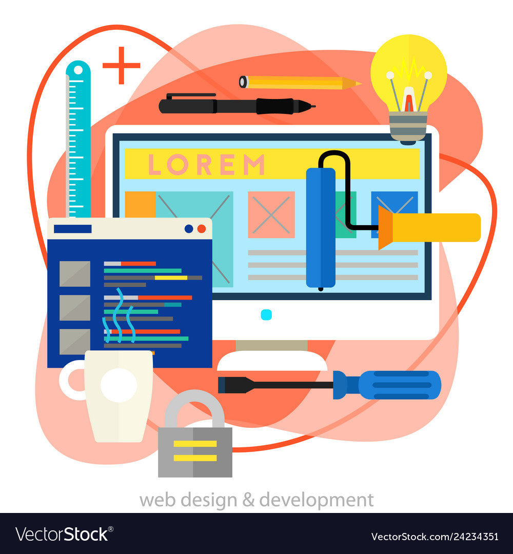 Webdesign and development concept trendy bright