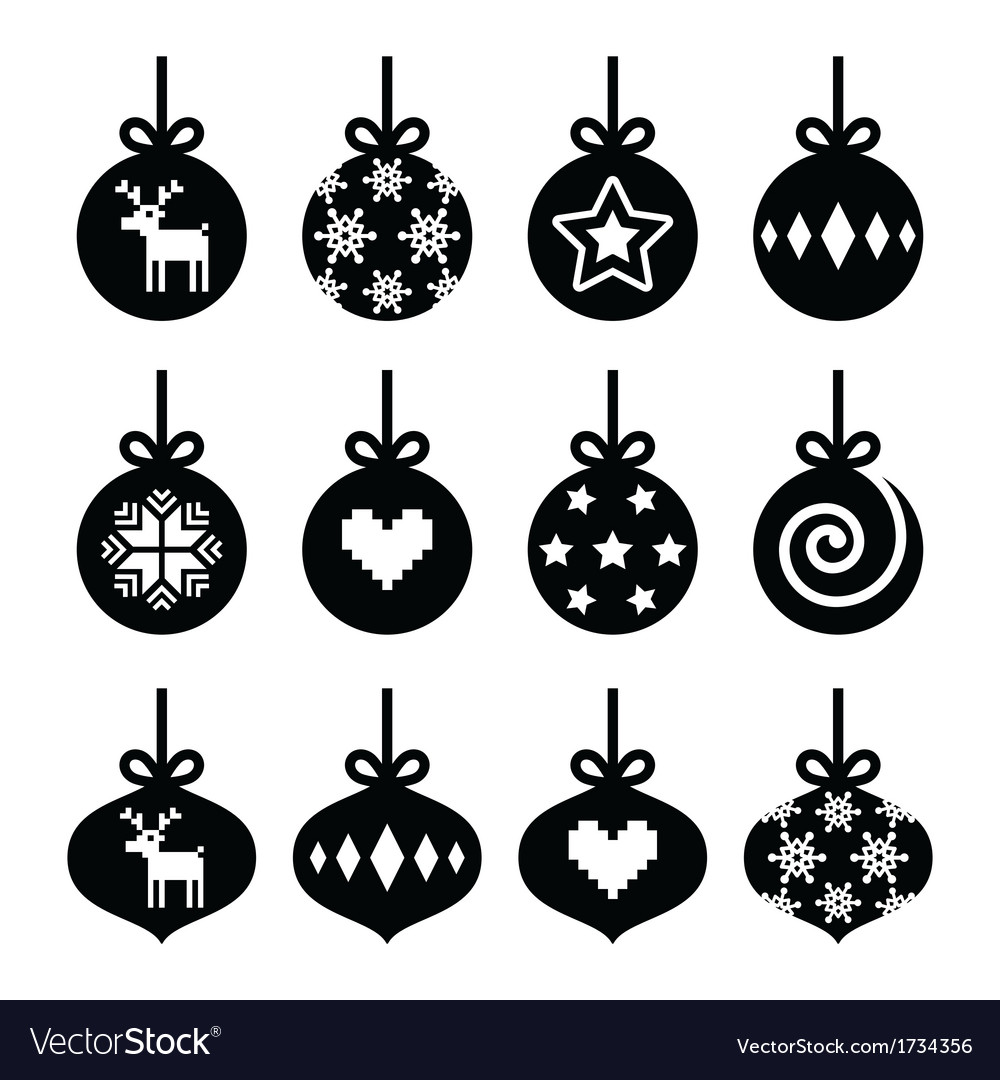 Christmas ball christmas bauble icons set vector image