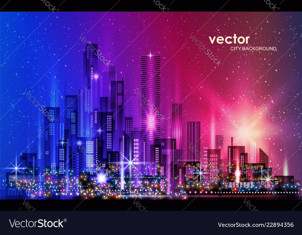 City skyline night cityscape with illuminated