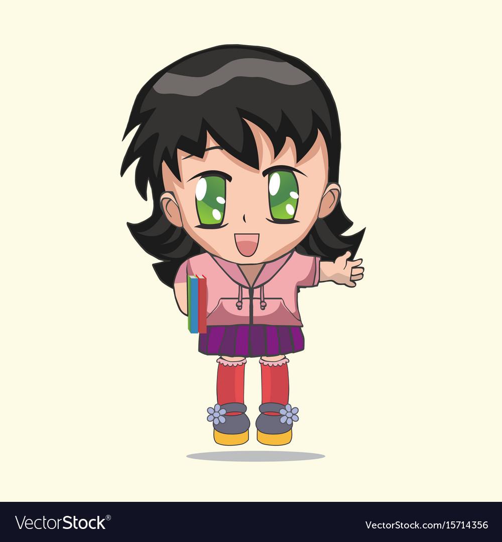cute anime chibi little girl royalty free vector image