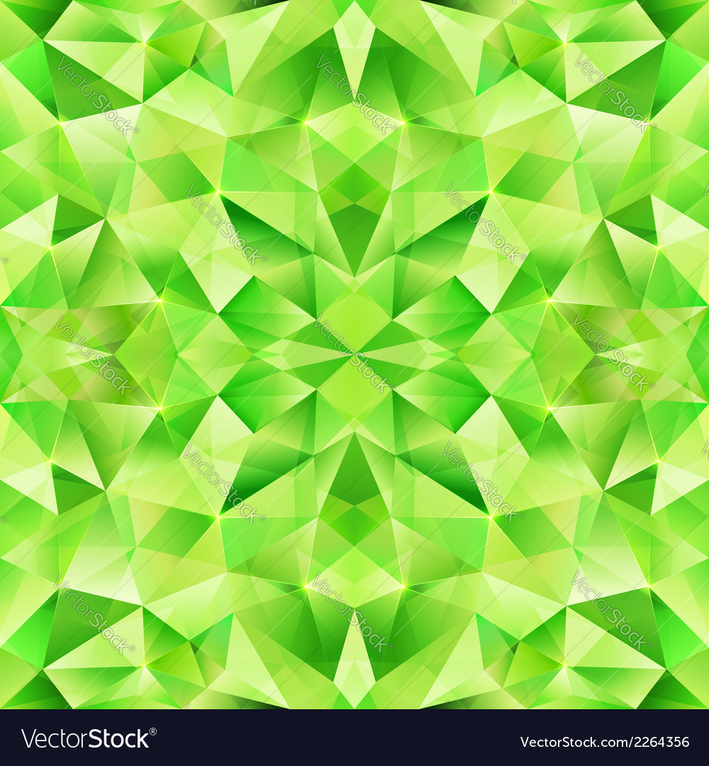 Green abstract crystal seamless pattern vector image