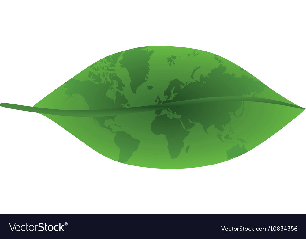 Green leaf with world map vector image