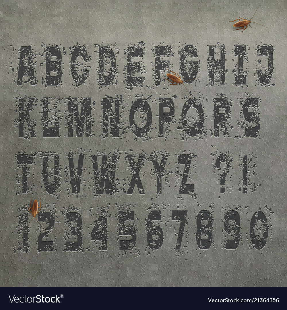 Grunge alphabet letters and numbers on concrete