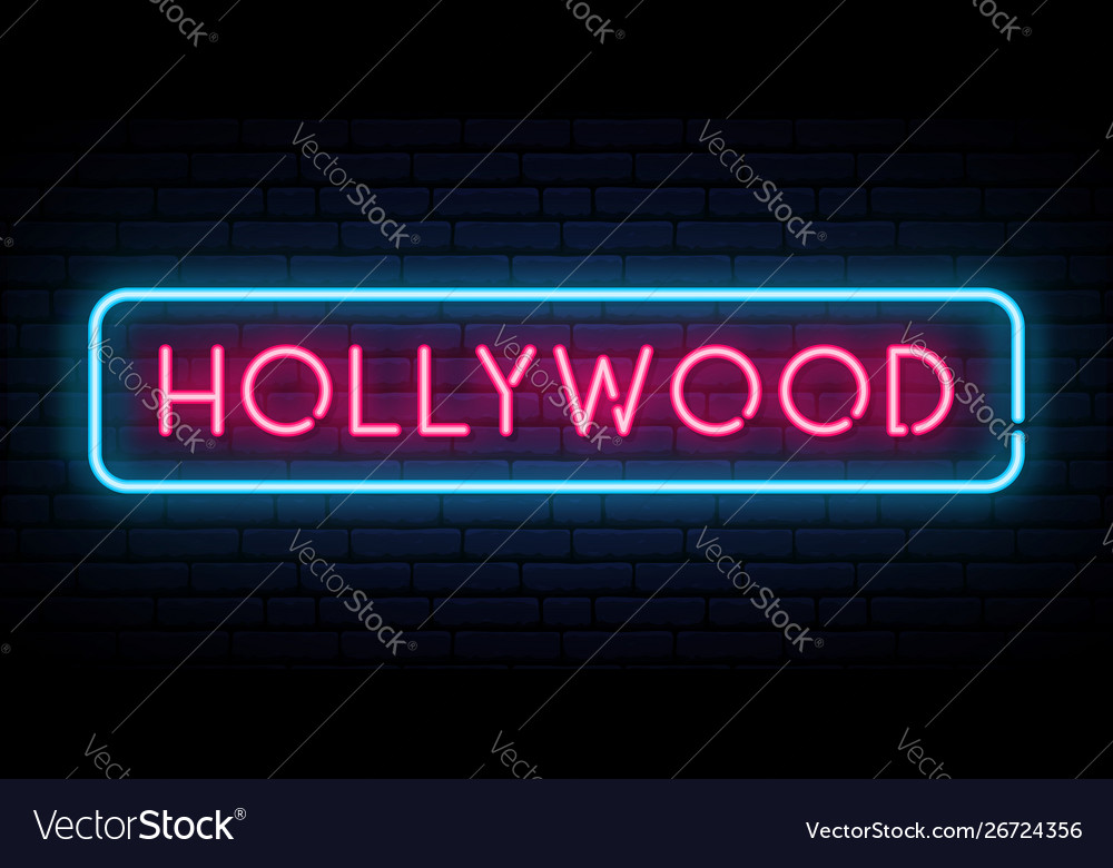 Hollywood neon sign bright light signboard