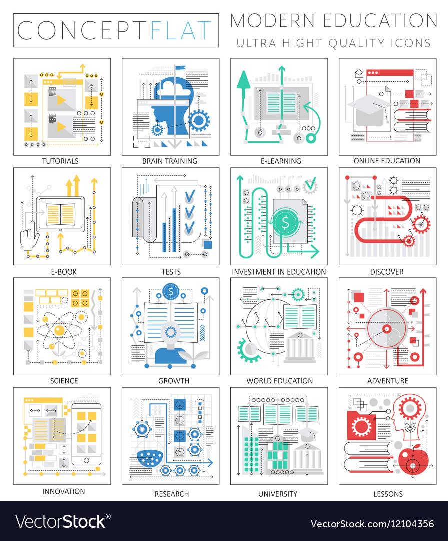 Infographics mini concept Modern education icons